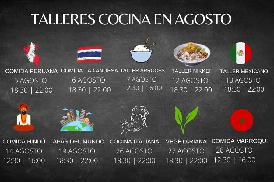 TALLERES DE COCINA EN AGOSTO JEREZ